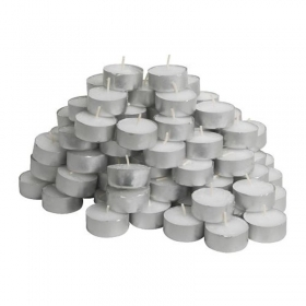 100 CANDELE TONDE TEA LIGHTS BIANCO LUMINI TEALIGHTS CANDELINE